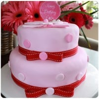 Two Layer Pink Polka Dot Party Cake.