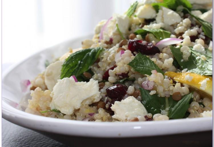 Quinoa Salad with Pearl Cous Cous, Lentils & Fetta.