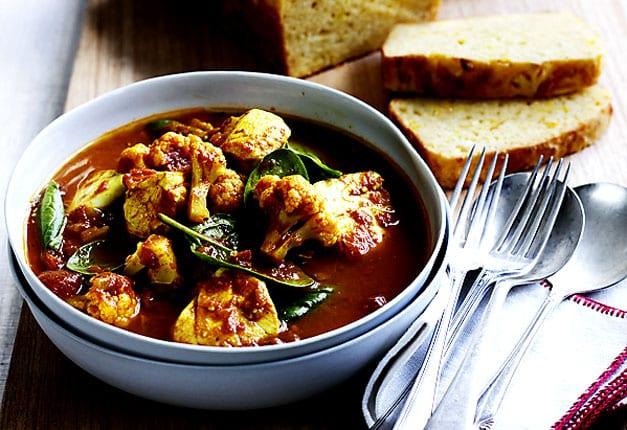 Fish curry with corn bread recipe