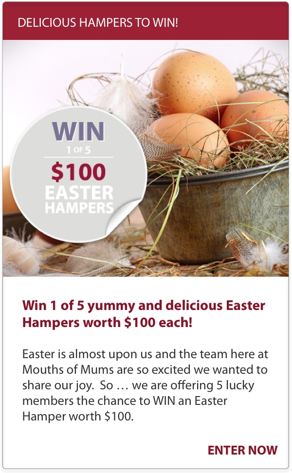 WIN 1 of 5 Easter Hampers worth $100_Brown Eggs in tin with feathers and grass_Mouths of Mums