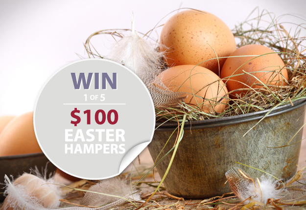 Win 1 of 5 Easter Hampers worth $100 each!
