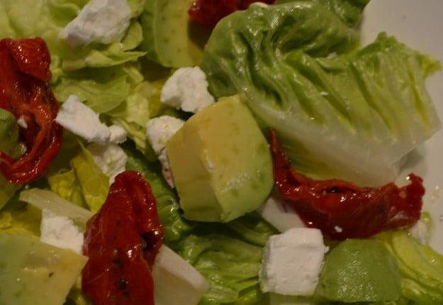 Semi Dried Tomato, Avocado and Goats Cheese Salad.