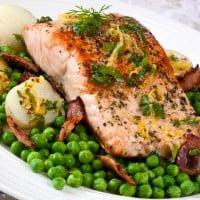 Atlantic Salmon with Bacon, Peas, New Potatoes and a honey mustard glaze