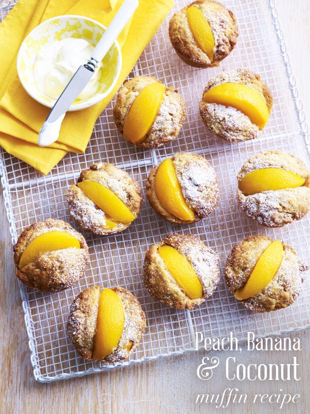 Peach, banana & coconut muffin recipe