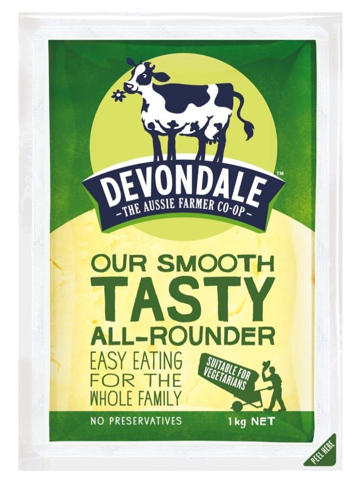 1kg block of Devondale Tasty All Rounder Cheese