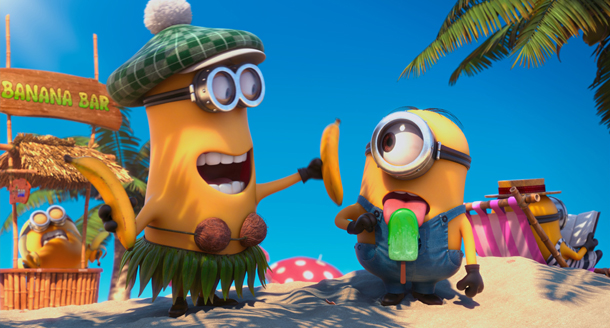 minions on the beach with ice block