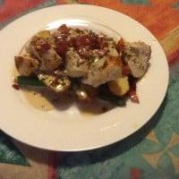 Chicken, asparagus & potatoes in garlic cream sauce