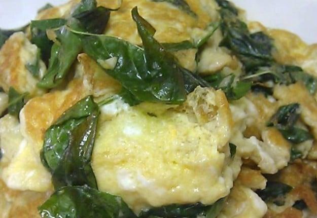 Basil fried egg