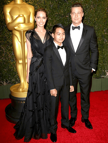 Angelina Jolie, Brad Pitt and Maddox at the 2013 Governors Awards.