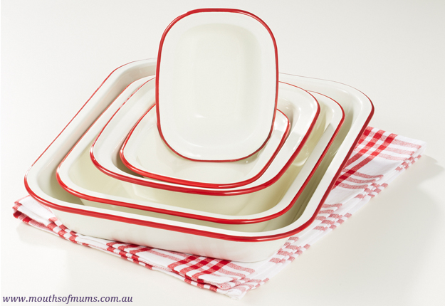 WIN 1 of 8 Wiltshire enamelware red oven-to-table sets