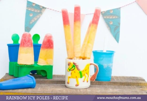 Fruity rainbow icy pops recipe