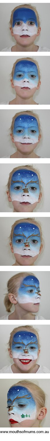 a fantastic christmas face painting idea, reindeer face paint tutorial for kids