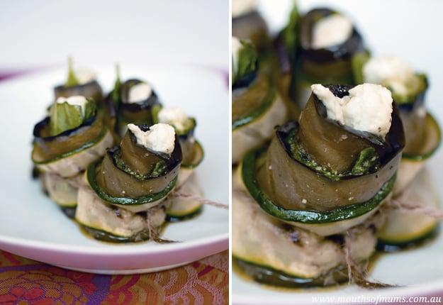 Eggplant and Zucchini Rolls