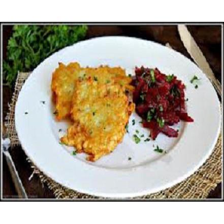 Potato cakes with bacon and tomato relish