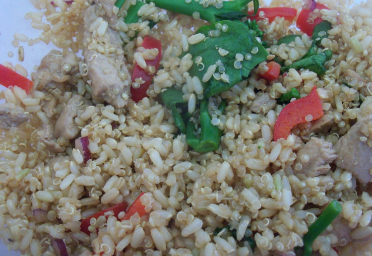 Chicken teriyaki, quinoa and brown rice salad with veges