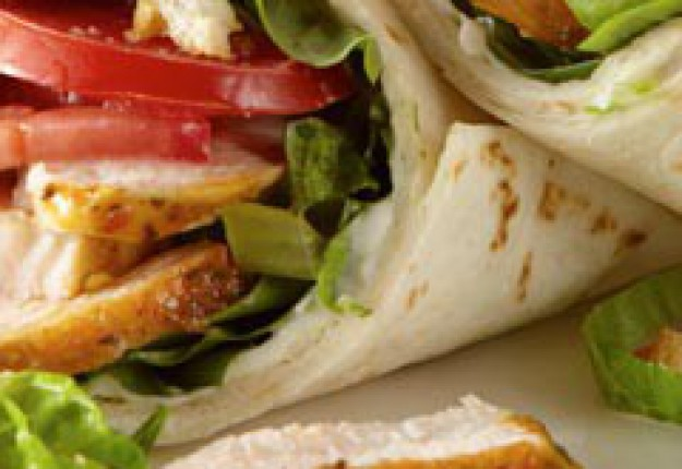 Toasted Garlic Chicken Wraps