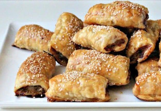 Lamb, mint and macadamia sausage rolls