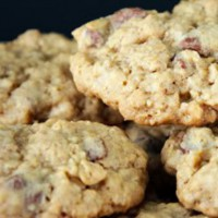 Chewy oat and choc chunk cookies