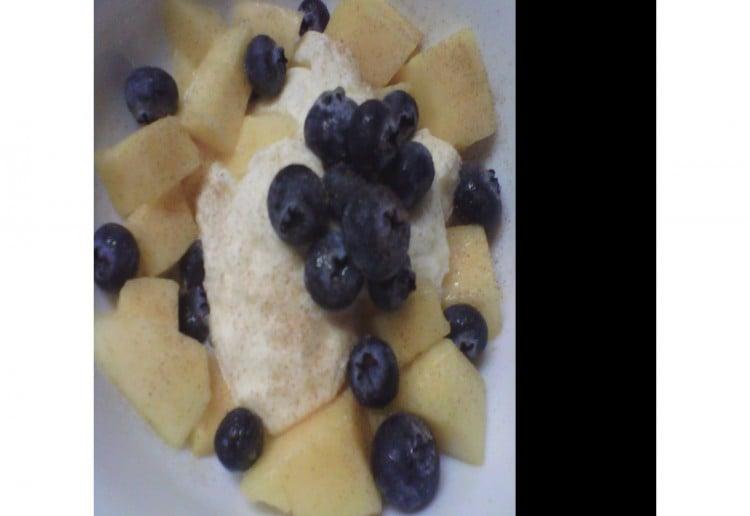 mango and blueberry icecream with a twist
