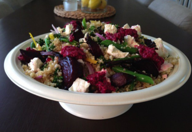 Quinoa, Pearl Cous Cous and Beetroot Salad