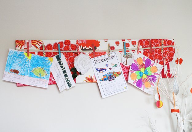 DIY kids school artwork hanging canvas