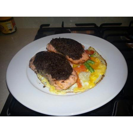 Herb crusted salmon with vegetable fritatta