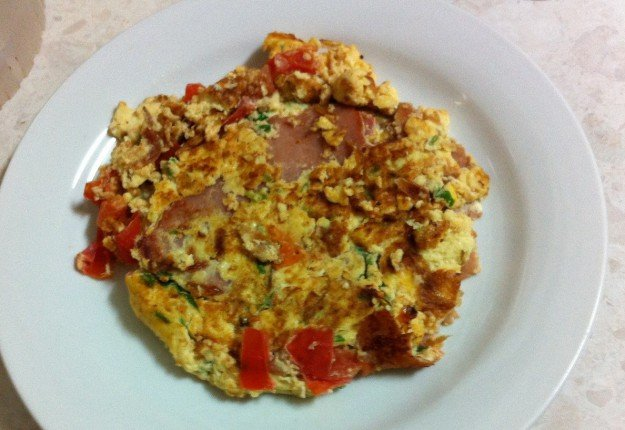 Ham, Cheese and Tomato Omellete
