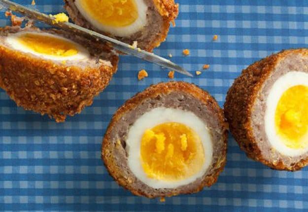 Scotch eggs in cornflakes