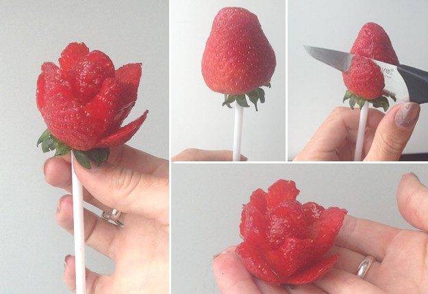 DIY Strawberry roses for Valentine's