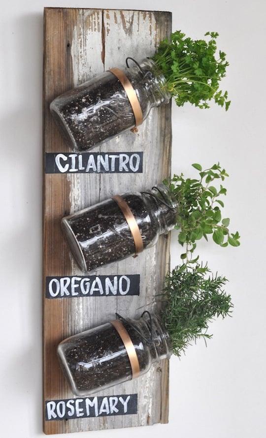 04-Vertical mason jar garden via upcyclethat.com