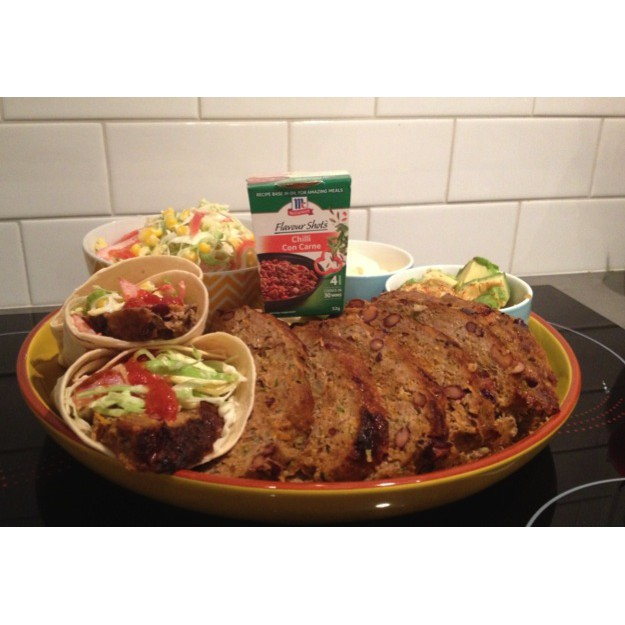 Meatloaf Con Carne with Mexican Slaw