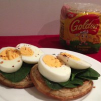 Boiled Eggs with a Kick on Golden® Crumpets with Oats