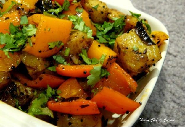 Potato Bell-Pepper Sabzi – an Indian Stir-Fry