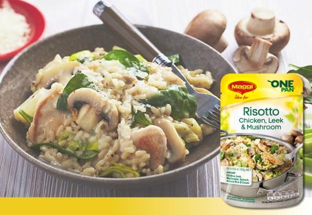 Maggi One Pan Chicken, Leek & Mushroom Risotto