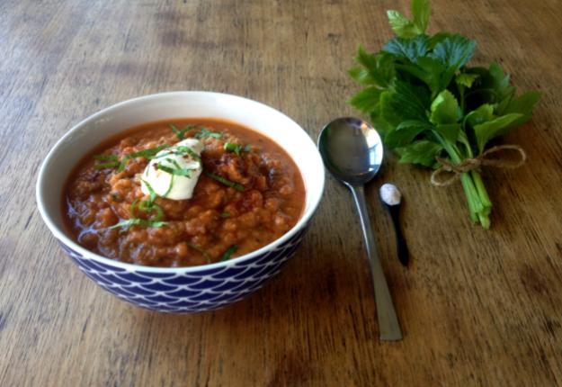 Chorizo, Eggplant & Red Lentil Soup