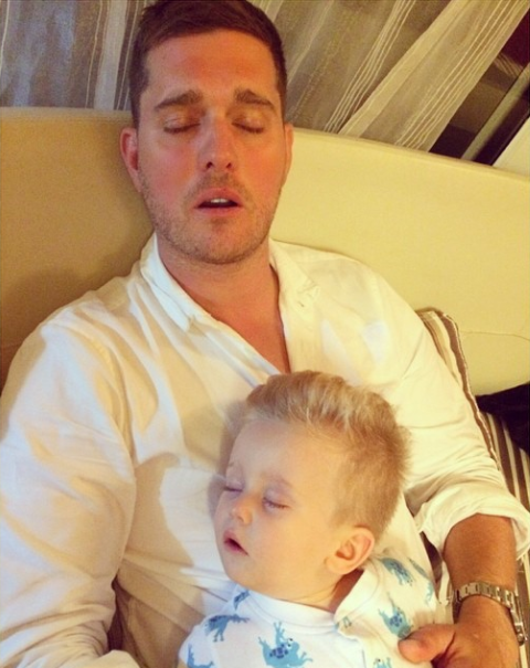 Michael Buble asleep with son Noah