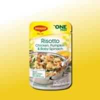 Delicious MAGGI risotto chicken, pumpkin & baby spinach