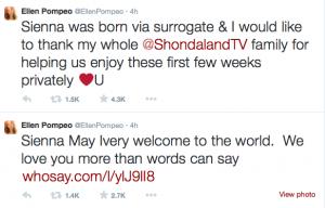 Ellen Pompeo twitter announcement baby Sienna