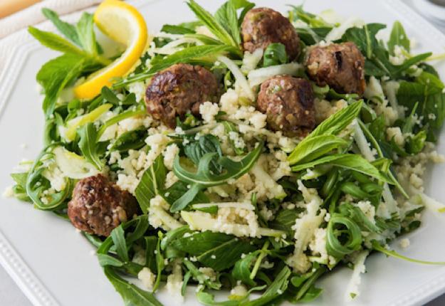 Lamb rissole; apple, mint and couscous salad