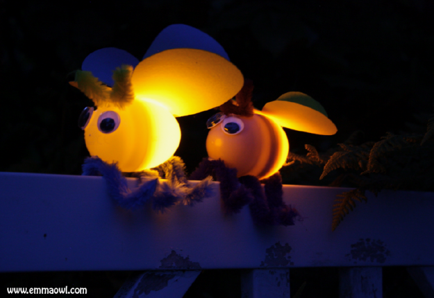 The sweetest fireflies – using plastic eggs!
