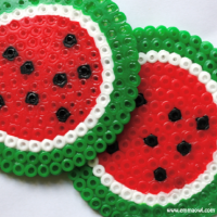 Watermelon coasters made from melty/hama beads