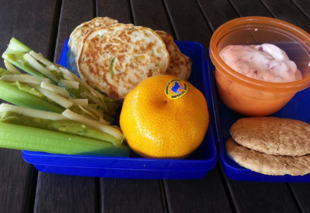 Salmon and corn lunchbox pancakes