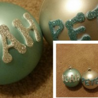 Home made name Christmas balls