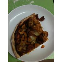 Roasted pumpkin, chorizo and mozzarella pizza