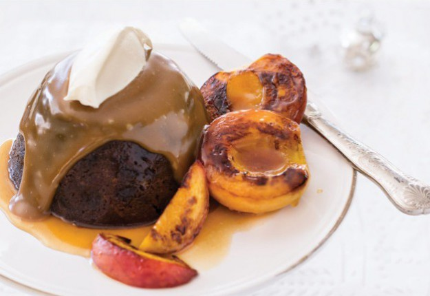 Luxury Irish pudding with sticky pan peaches and caramel sauce
