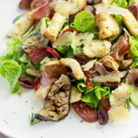 Antipasto salad with torn rosemary croutons
