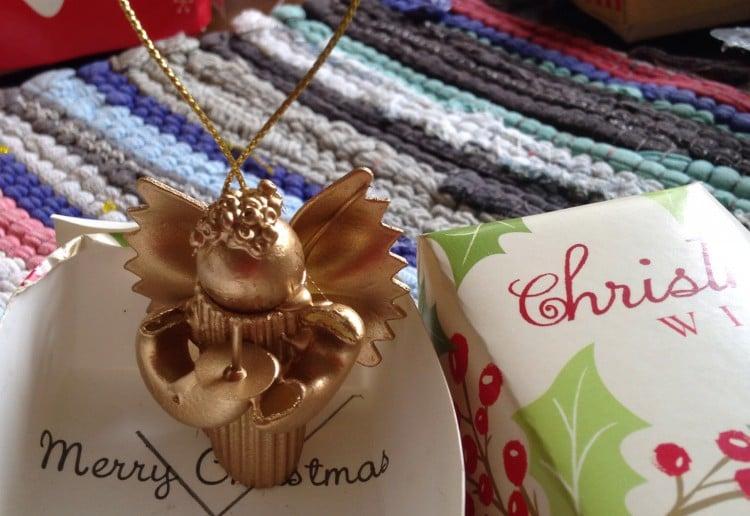 Pasta Christmas angel decoration