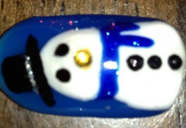 Snowman Christmas nails