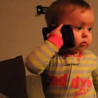 Baby has a GREAT conversation on the phone to Dad