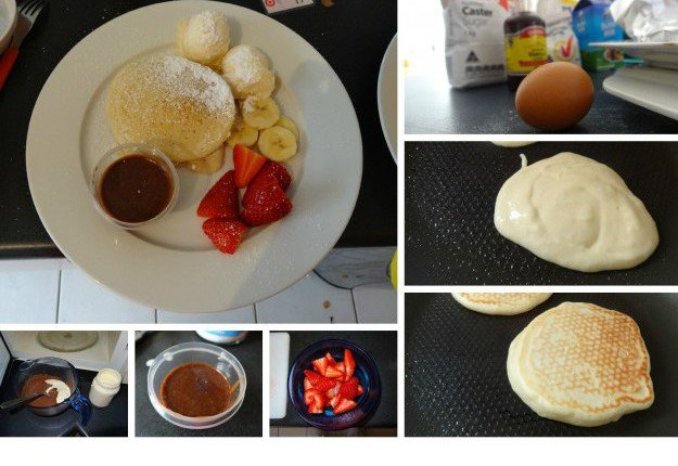 Easy Sunday buttermilk pancakes with Toblerone dip